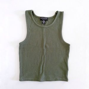 Cropped Ribbed Racer Tank